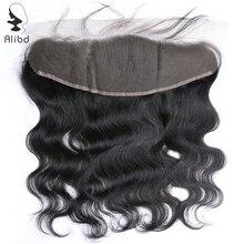 Alibd фронтальное закрытие шнурка перуанская волна тела человеческих волос уха к уху спереди закрытие волос расширение 13*4 remy волосы верхние закрытия
