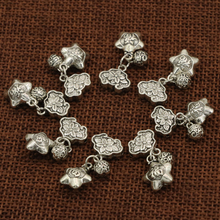 Spacers beads accessories fashion 10pcs high quality assorted Tibet silver plated flower stars ball shape jewelry findings B2539