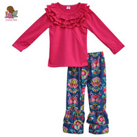 2017 Newborn Baby Girls Spring Boutique Outfits Cotton Top And Bottom Kids 2 PCS Suit Wholesale