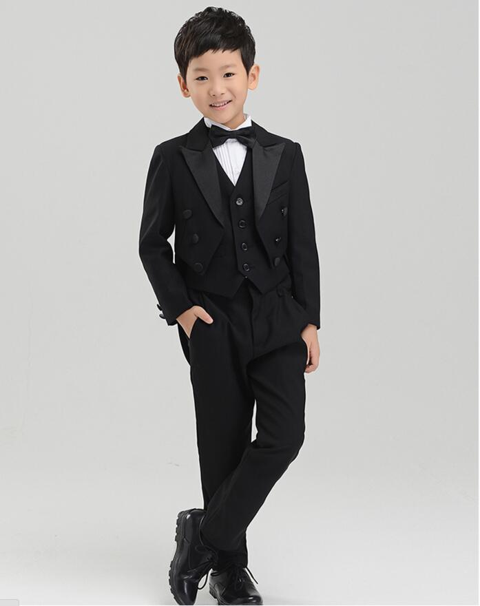 5 pcs boy children piano costume boy England suit boys suits for weddings jacket pats vest