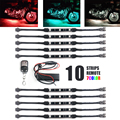 10Pcs 12V Motorcycle 15 Color 30 RGB LED Lights Multi-Color Glow Neon Strips Switch Extension Wire Cable Moto Accessories
