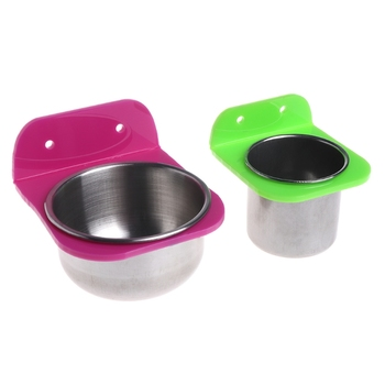 Stainless Steel Food Water Bowl Bird Feeder For Crates Cages Coop Dog Parrot Pet -m18 1
