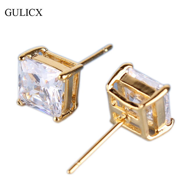 GULICX Fashion  Yellow Gold-color Small Earing CZ Zircon Princess White Crystal Zircon Stud Earring for Women Jewelry E013