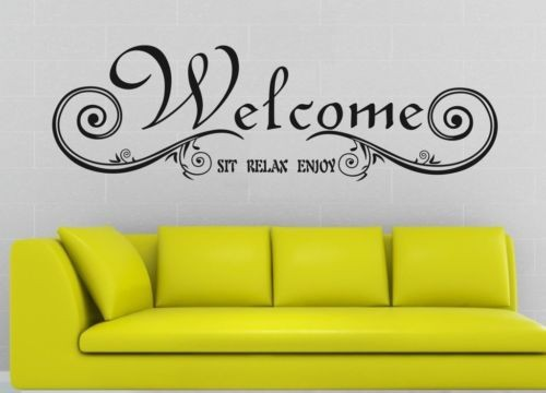 welcome sit relax quotes sofa background decor wall sticker vinyl decal decals words living room removable vinyl lettering
