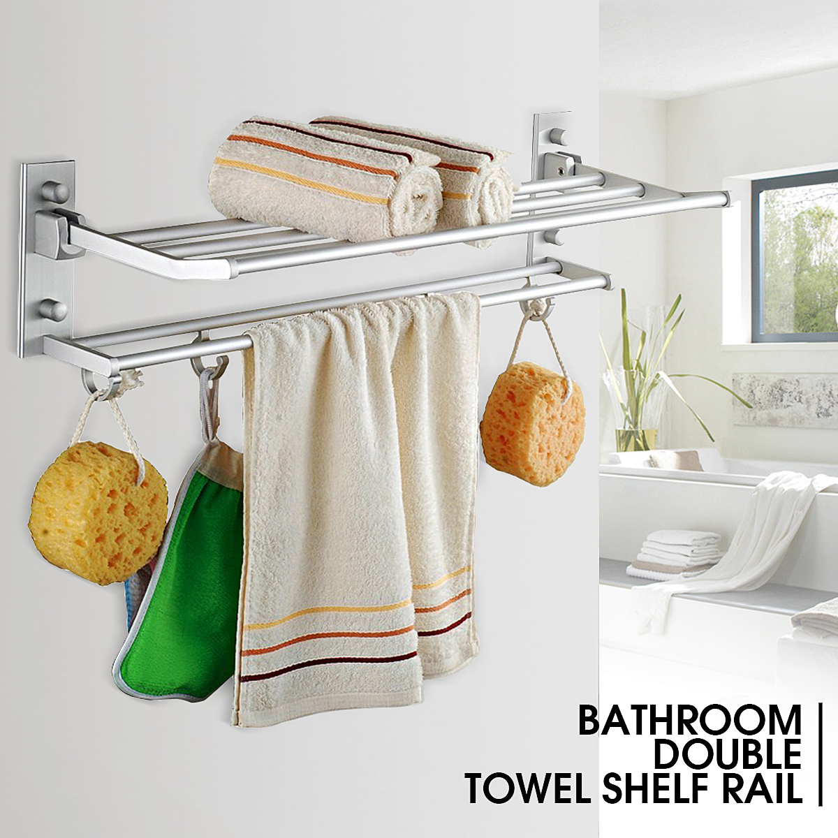 1Pcs 2Layers Foldable Alumimum Bathroom Towel Rack Holder Hanger ...