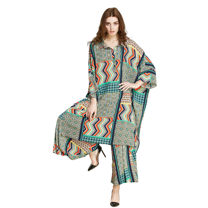 2019 female spring and summer  new printed loose fashion casual suit chiffon shirt wide + leg pants two sets