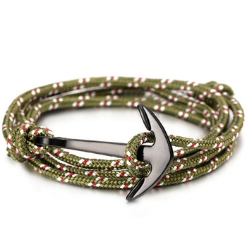 Fashion black anchor charm survival rope chain leather friendship bracelet men and women jewelry  3