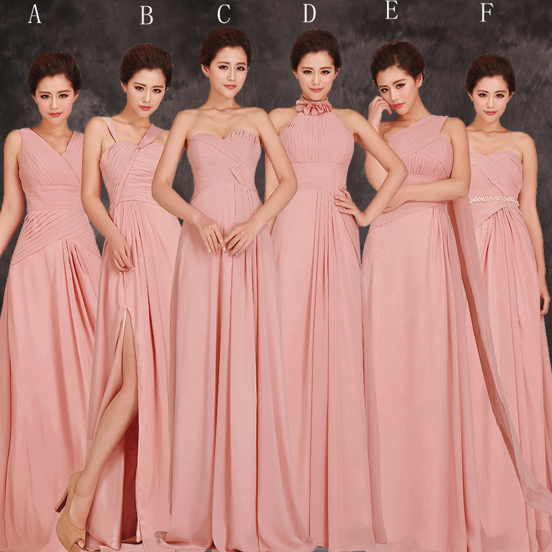 Pink Long Chiffon Bridesmaid Dress 2017 Elegant Wedding Party Maid Of Honor 6 Style A F In Dresses From Weddings Events On