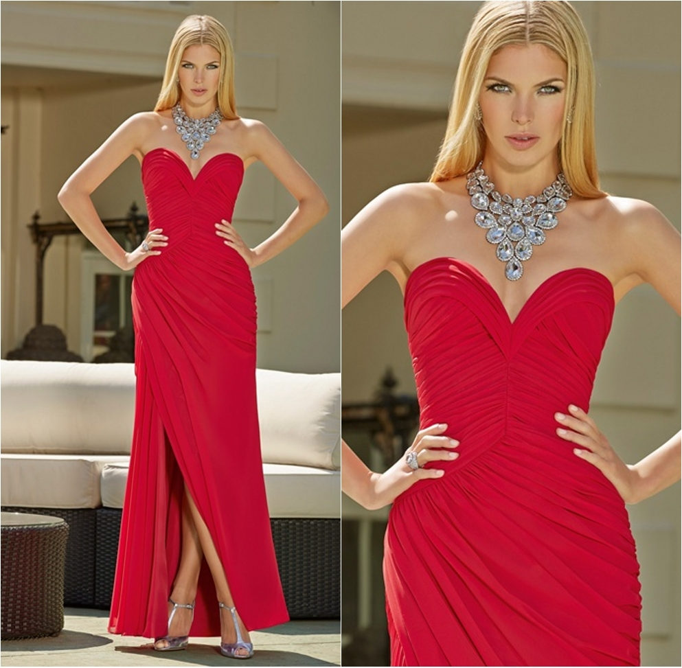 Hot Sale Red Sweetheart Neckline Long Mermaid Prom Dresses 2015 ...