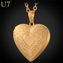 U7 Heart Necklace & Pendant Women/Men Lovers's Jewelry Valentines Gift Wholesale Gold Plated Romantic Fancy Photo Locket P318