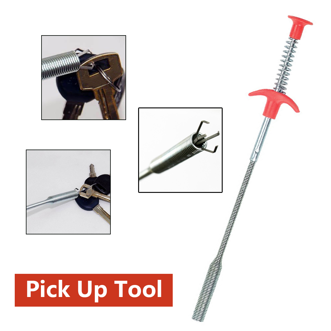 85CM Long Reach Four Claws Flexible Pick Up Tool Spring Grip Narrow Bend Curve Grabber For Picking Up Sewer Hair Dredging Device
