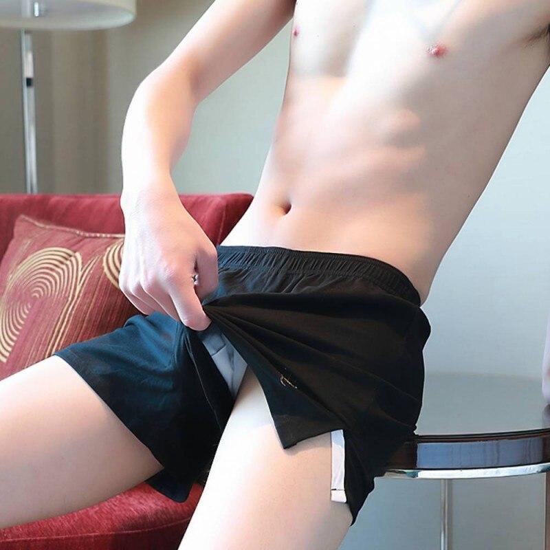 Sexy Male Men Underwear Boxers Shorts Underpants Home Sleepwear Cotton Loose Soft Comfortable Mens Convex U Pouch Sleep Bottoms