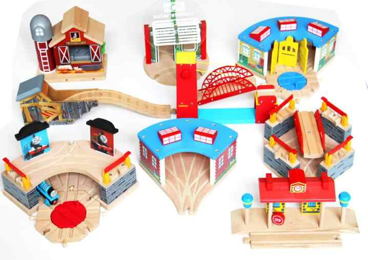 Train Garage Air Staion Wood Track Compatible with Brio Wooden Train Track Railway Accessories Toys for Children