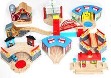 Tren garaj hava istasyonu ahşap parça ile uyumlu Brio ahşap tren rayı demiryolu aksesuarları oyuncaklar çocuklar için