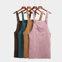 Spring Autumn Dress Women Korean Fashion Vintage Sundress College Wind Corduroy Loose Strap Vestidos Female Midi