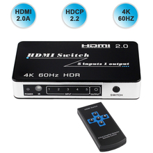 цена New HDR HDMI 2.0 Switch HDCP 2.2 4K HDMI Switcher HDMI 5 / 3 in 1 out 4Kx2K@60Hz Switch With Auto & IR for PS4 pro DVD Laptop PC в интернет-магазинах