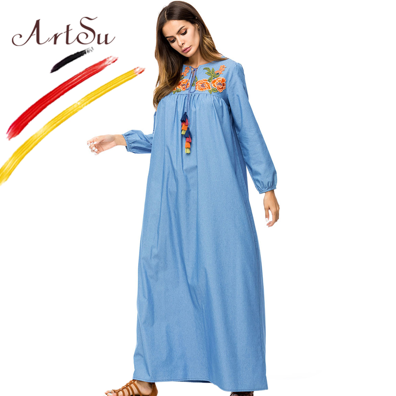 9788855869a ... ArtSu Vintage Tie V-Neck Tassel Long Sleeve Denim Dress 2018 Spring  Autumn Plus Size ...