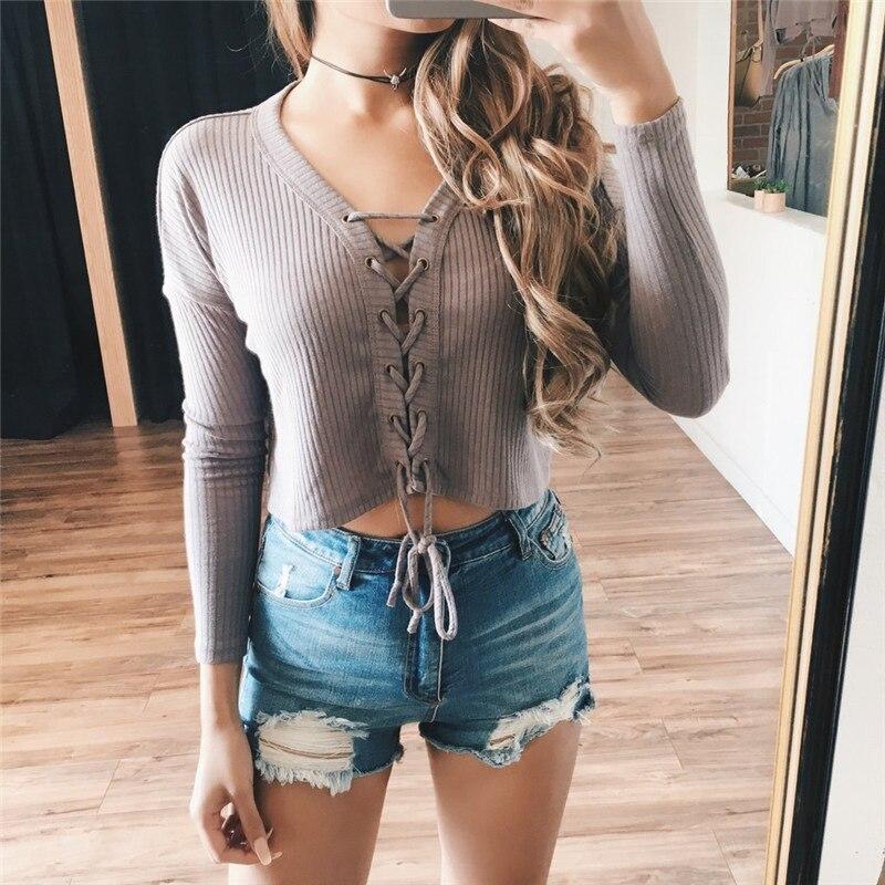 Bazaleas Fashion Grey Black Knitted Blouse Brand V Neck Bondage Cropped Tops Women Blouse