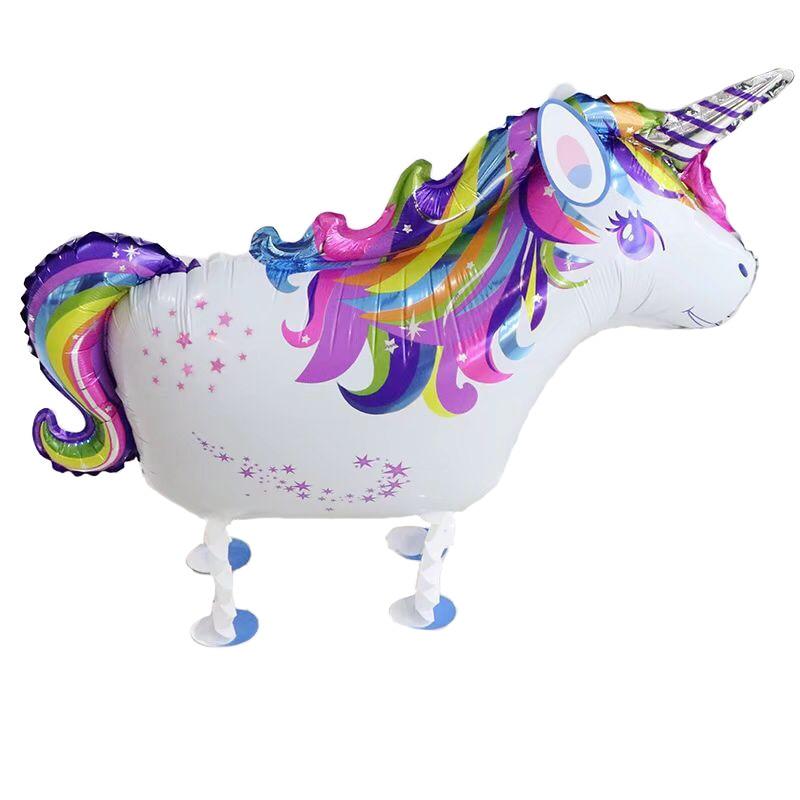Ev ve Bahçe'ten Balonlar ve Aksesuarları'de 50 adet Yürüyüş Unicorn Folyo Balon doğum günü partisi süslemeleri Hayvan Helyum Hava Balonları Çocuklar Toysys Globos'da  Grup 1