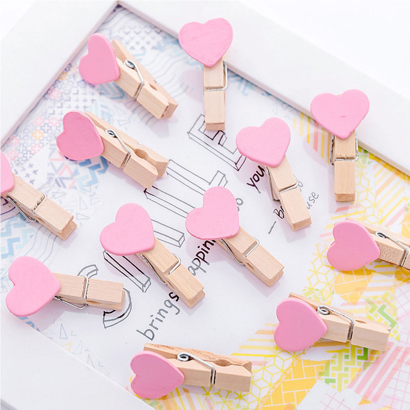 10 Pcs Pink Lovely Heart Wooden Paper Clip Bookmark For Album With Rope School Office Supply
