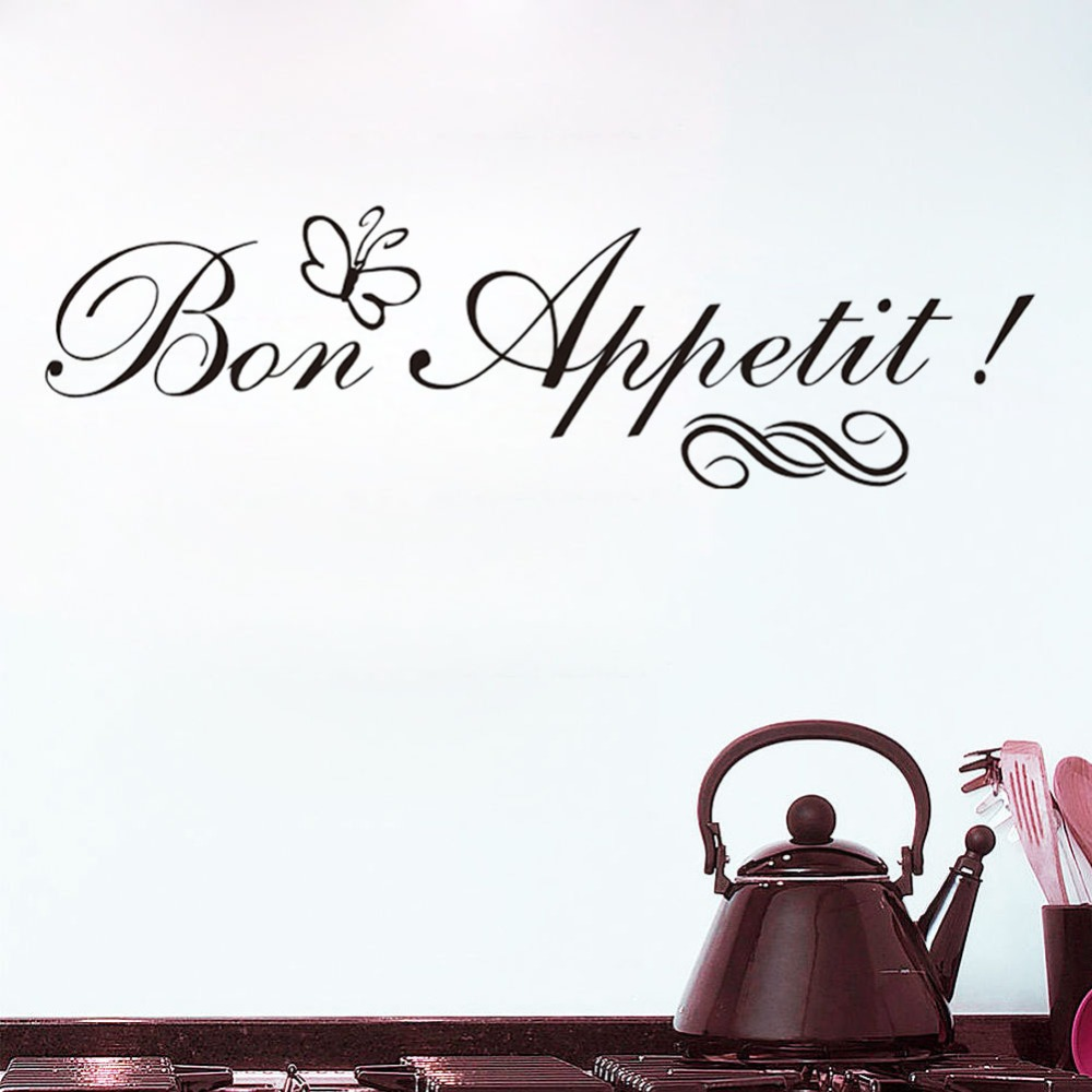 Bon Appetit Wall Stickers With Butterfly French Spanish Diet Quotes Living Room Dining Room Restaurants Kitchen Home Decoration