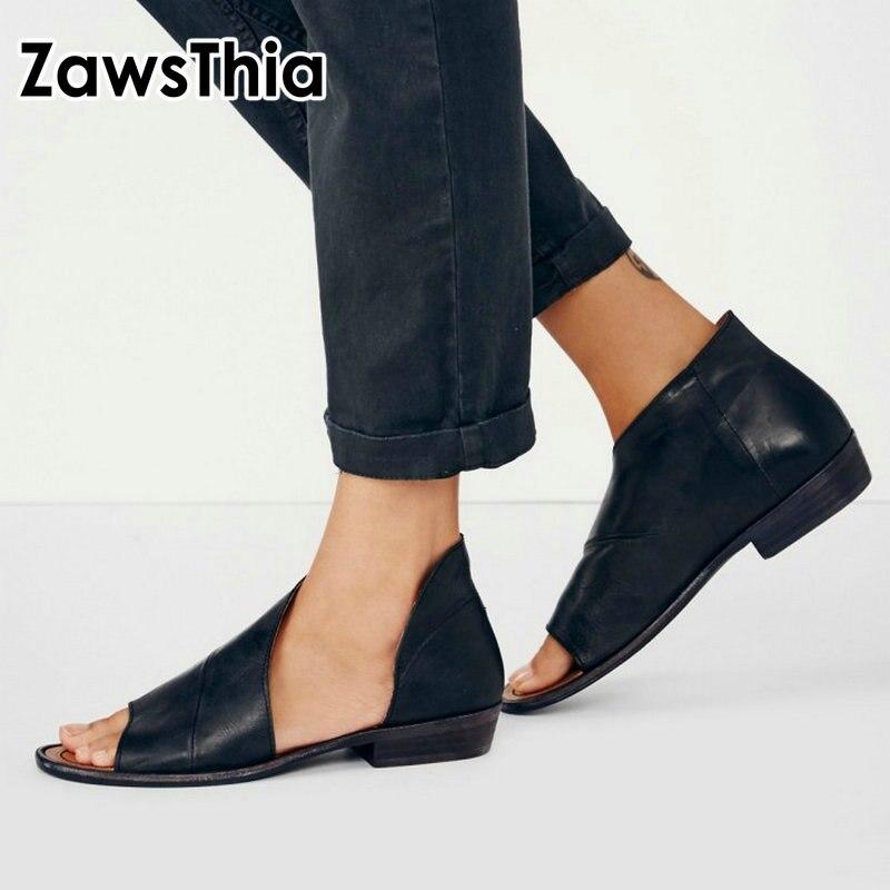 de1351b676ef Zawstia 2019 verano cuero genuino piel de oveja punta abierta mujer zapatos  planos negro marrón lado abierto casual slip-on mujeres sandalias