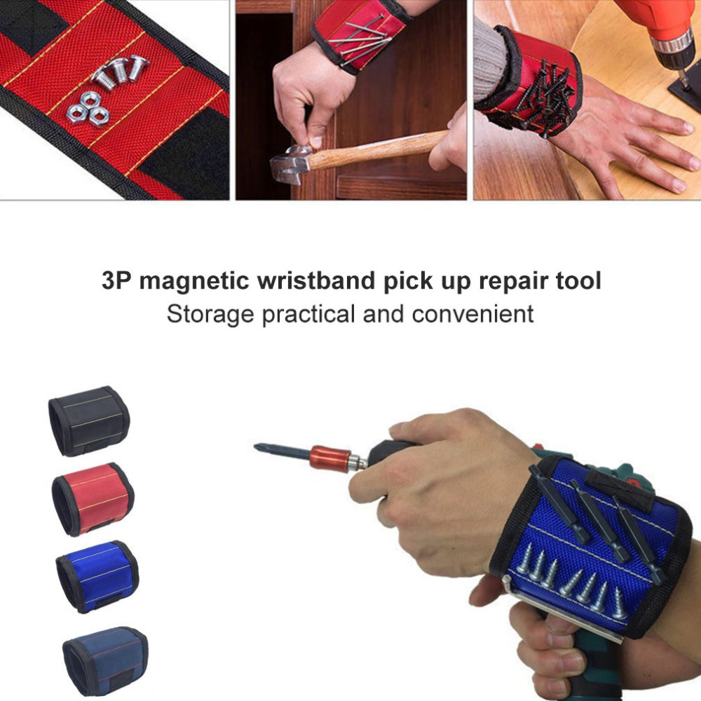 3P Polyester Magnetic Band Portable Tool Bag Electrician Wrist Belt Drilling Tool Holder Screws Nails Repair Tools