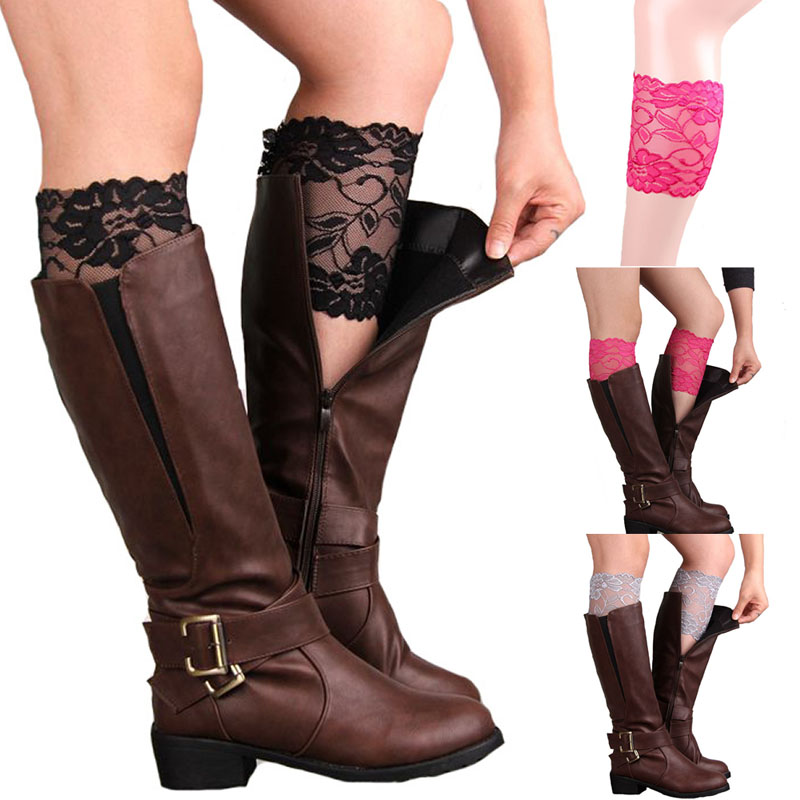 Colors Stretch Lace Boot Cuffs Flower Leg Warmers Lace Trim Toppers Socks Hot ...