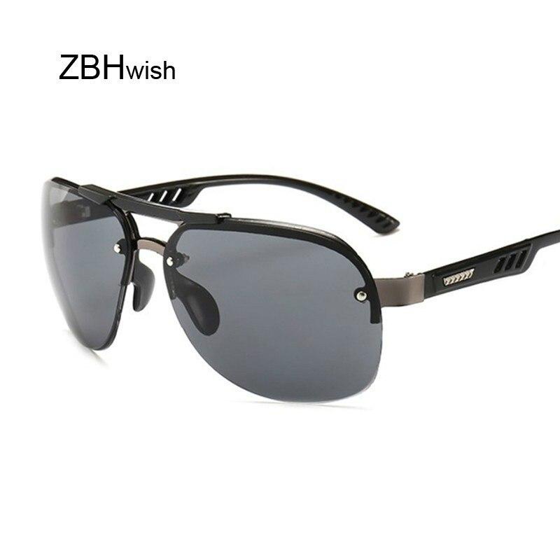 Vintage Sunglasses Men Brand Designer Pilot Sun Glasses Male Shades Large Black Lens Glasses UV400 Fashion Eyewear