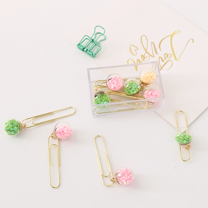 TUTU 5pcs/box Glass ball Paper Clips De Papel Notes DIY Bookmark Metal Binder Clips Fish Clips Notes Letter Paper Clips H0164 5