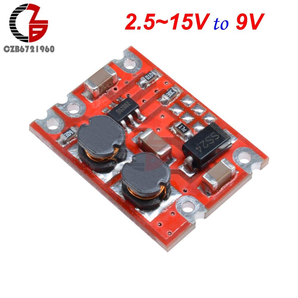DC-DC модуль преобразователя с автоматическим повышением напряжения постоянного тока 2,5-15 В постоянного тока 3,3 В 4,2 в 5 в 9 в 12 В понижающий регулятор напряжения инвертор питания - Цвет: 9V