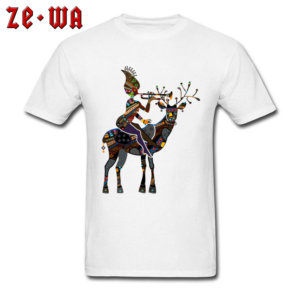 Delicate Print T-shirt For Men T Shirt Deer Designer Tshirt Minority Tribal Art Mens Cotton Clothing Exotic Tops Tees White 3XL