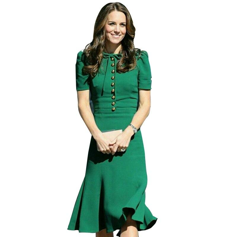 Princesse Kate Middleton robe 2019 femme robe printemps à manches courtes col rond sirène robes élégantes travail porter des vêtements SAD185AS