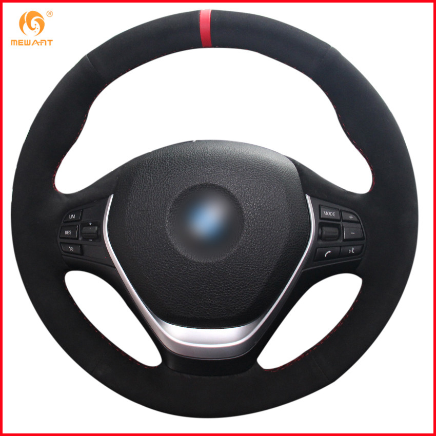 MEWANT Black Suede Red Marker Car Steering Wheel Cover for BMW F20 2012 2018 F45 2014