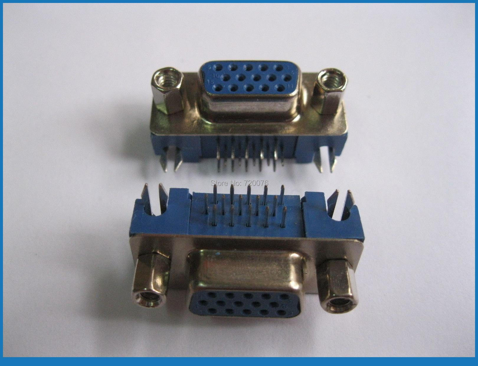 ФОТО 80 pcs D-Sub 15 pin Female Connector Right Angle 3 Row Short