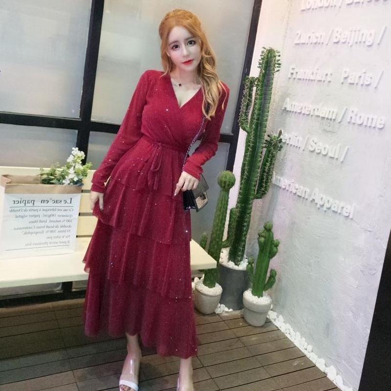 Women Autumn Fashion Elegant Party Dress Sexy V Neck Club Dress Vestidos Long Sleeve Mesh Cake Dress Sequined Slim A Line Dress 1