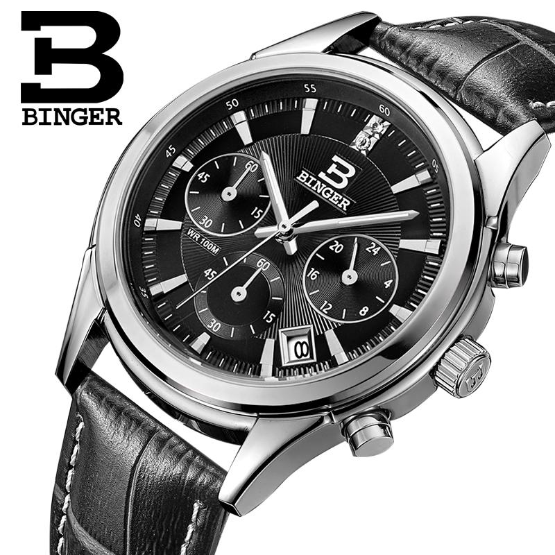 Switzerland BINGER men's watch luxury brand Quartz waterproof genuine leather strap auto Date Chronograph Wristwatches BG6019-M2 free shipping 100g super fragrant anxi tieguanyin new 2016 tie guan yin tea oolong tea tieguanyin oolong for health care food