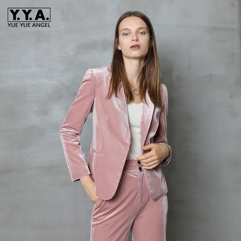 High Quality Woman Slim Suits Fashion Velvet Single Breasted Blazer Straight Wide Leg Trousers Female Sets Elegant Women Suits