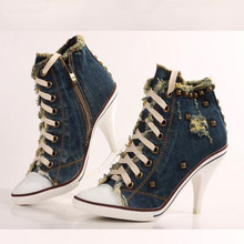 Fashion high heels Female casual denim canvas shoes large size heel rivets ankle boots Women's chelsea