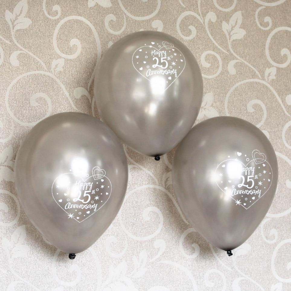 1st Wedding Anniversary Decoration Ideas At Home: 12 Pcs 25th Silver Wedding Anniversary Balloon Bouquet