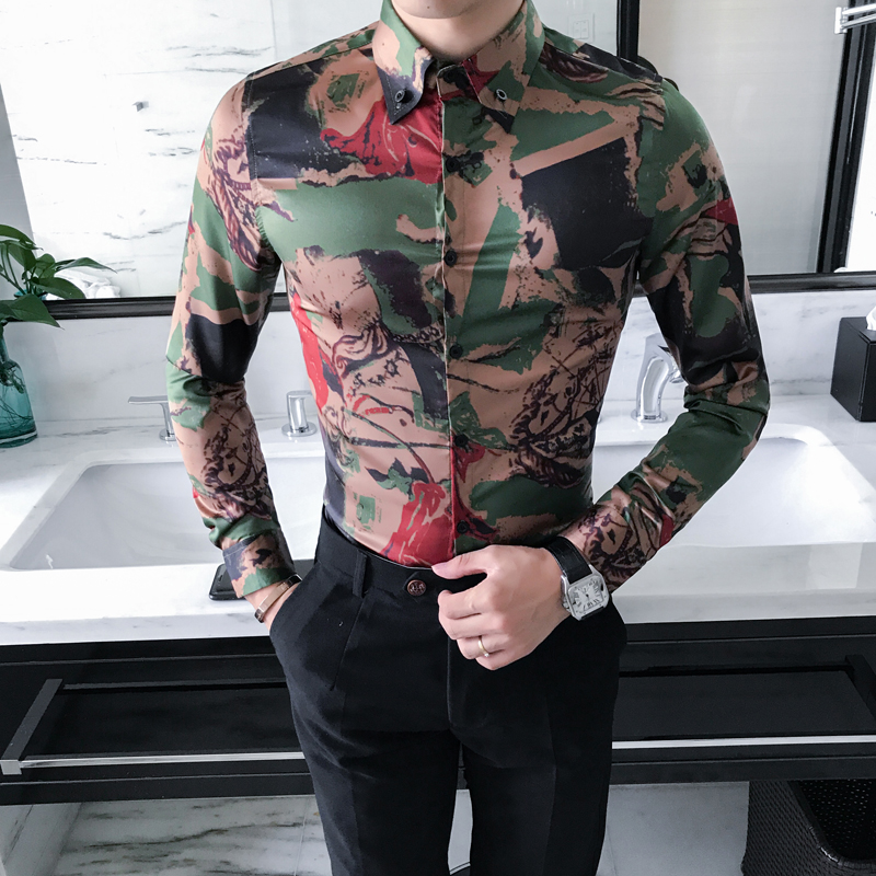 High Quality Korean Shirt Men Fashion 2019 New Spring Long Sleeve Camouflage Print Men Casual Shirts Slim Fit Party Dress Shirt