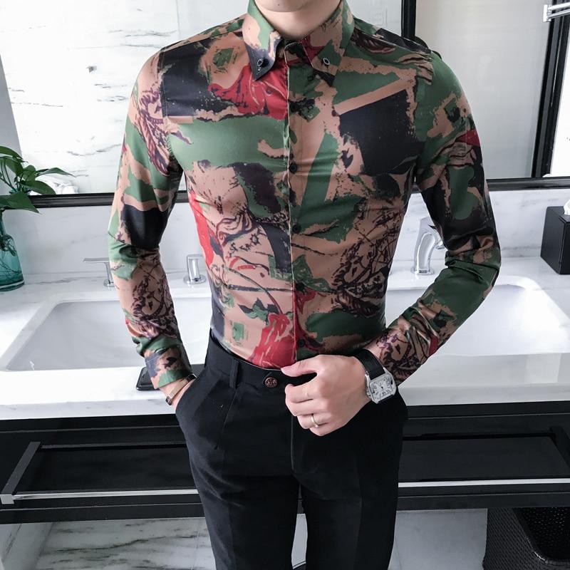 High Quality Korean Shirt Men Fashion 2019 New Spring Long Sleeve Camouflage Print Men Casual Shirts Slim Fit Party Dress Shirt