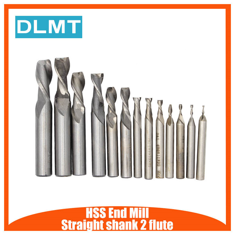 1PCS Carbide End Mill HSS  Straight Shank 2 Flute End Mill Cutter Drill Bit Metalworking Tool For Milling 2/3/4/6/8/10/12/14mm