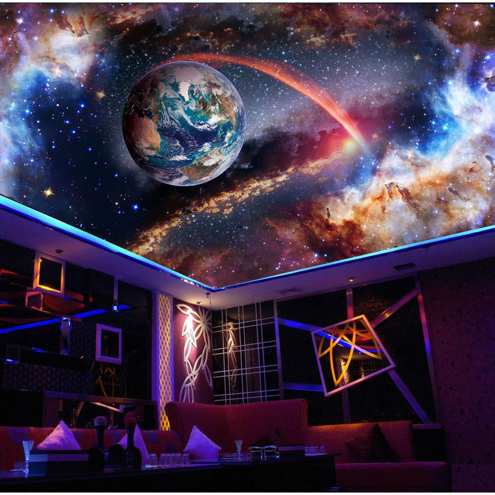 Universe Outer Space 3d Ceiling Wallpaper Murals for Walls Living Room Hall 3d Wall Ceiling Mural 3d Wall paper Sticker custom 3d ceiling wallpaper white polygon brick wall wallpaper for walls 3 d ceiling murals wallpapers for living room