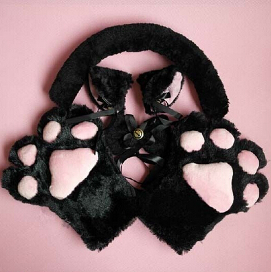 1Set-New-Anime-Cosplay-Costume-Sweet-Cat-Ears-Plush-Paw-Claw-Gloves-Tail-Bow-tie-Halloween