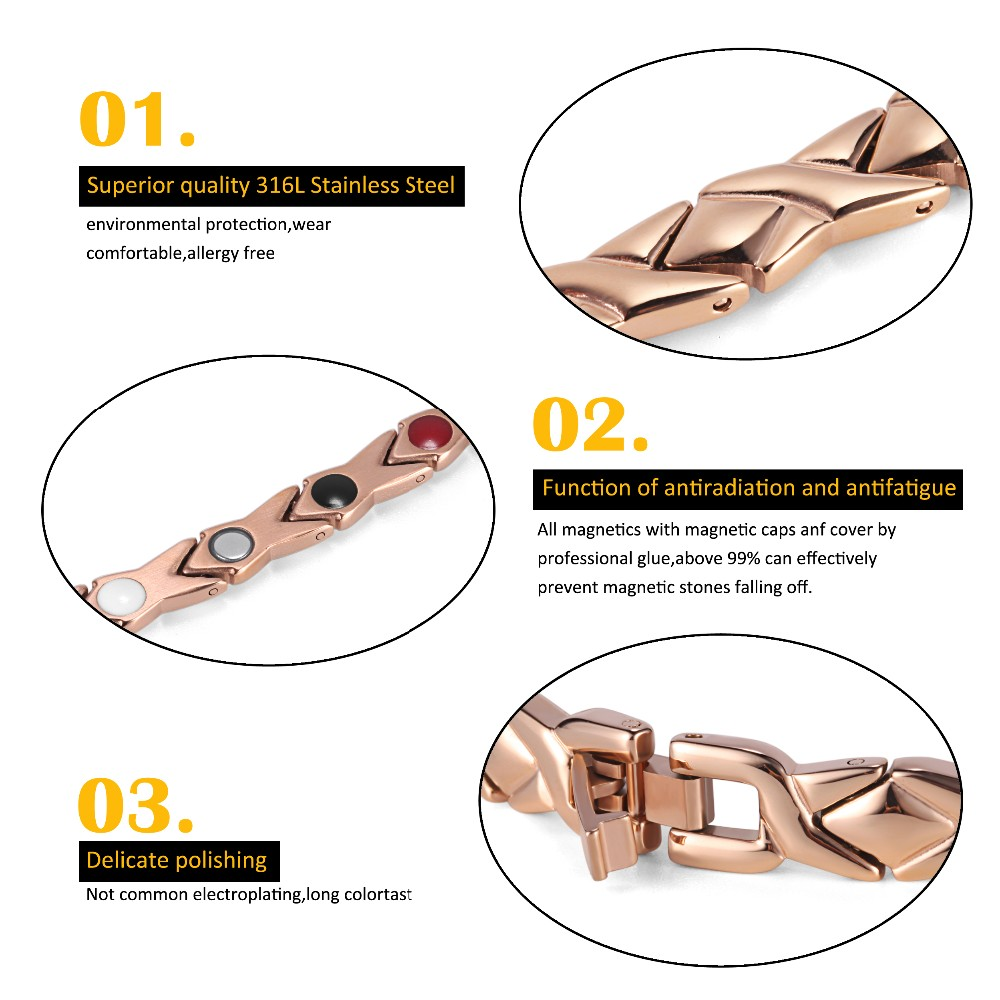 Rainso stainless steel Letter shape power energy health bracelet 4 in 1 magnetic germanium healthy bracelet for women 5