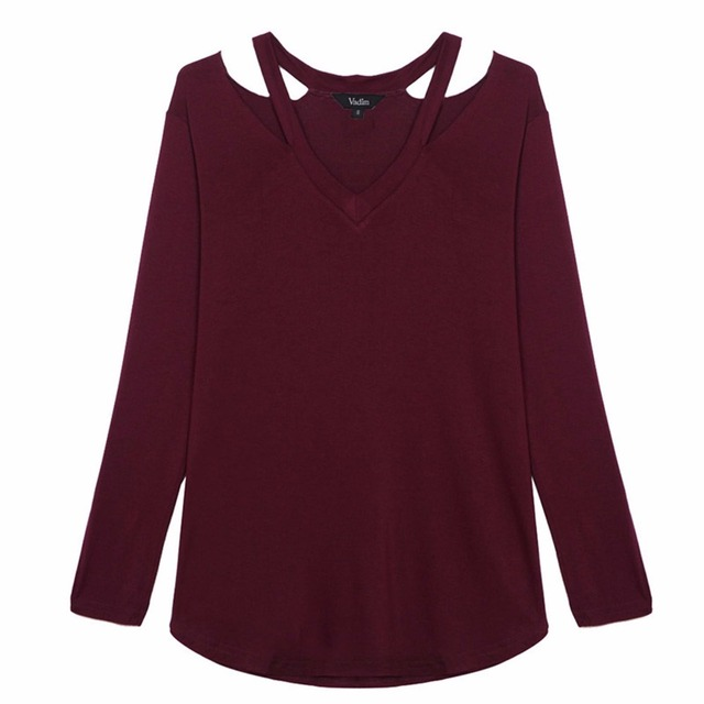 f7254de7caaef Women V neck cut out loose shirts casual off shoulder t shirt basic long  sleeve tees cozy tops 5 colors ST1846
