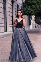 Vestido De Festa Elegante Einfache Prom Kleid A-linie Falten Tüll V-ausschnitt Abendkleider Bodenlangen Abendkleider Lange