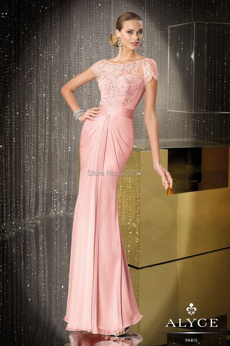Largo rosado de encaje y gasa vestidos fiesta vestido Formal manga corta ED29674 en Vestidos de noche de Bodas y eventos en AliExpress.com | Alibaba ...