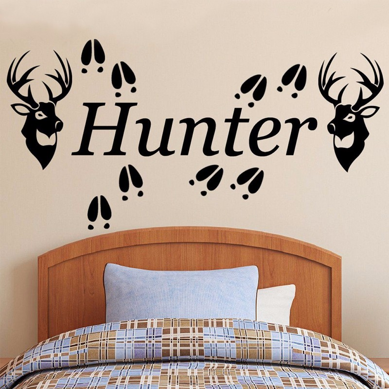 2 Deer Heads & Tracks Personalized Name Wall Sticker, Vinyl Wall Decal Sticker Hunting Decor Kids Room Decor Wall Stickers